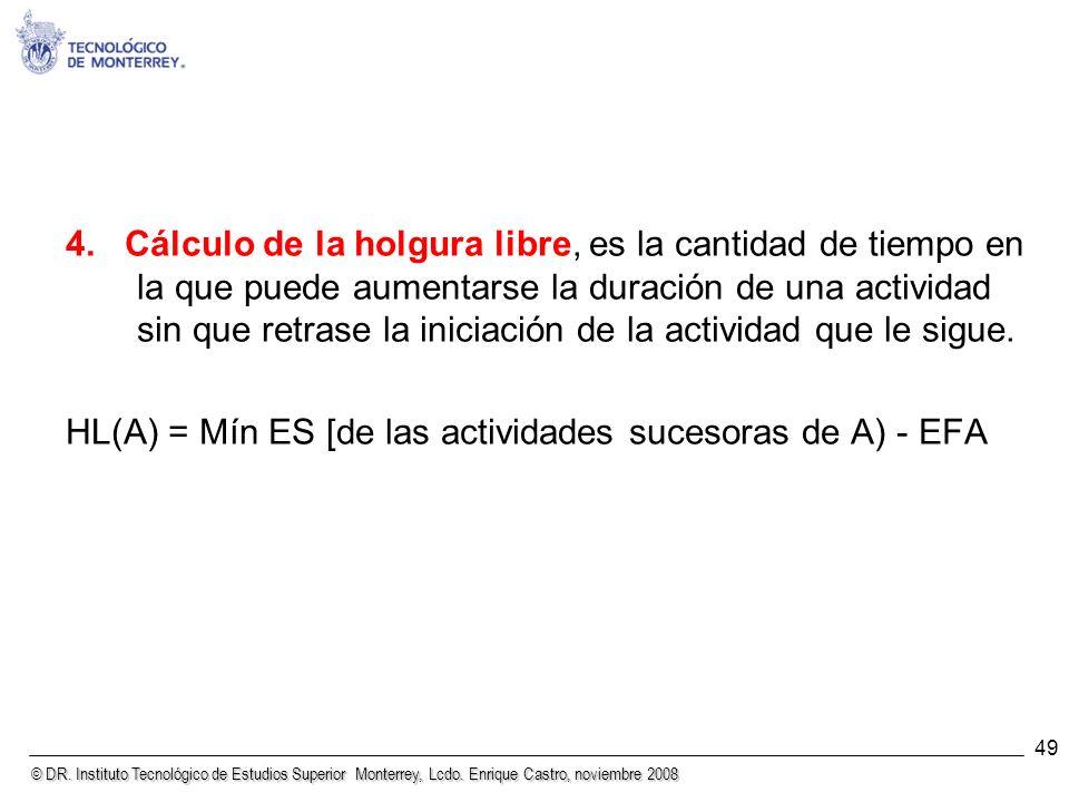HL(A) = Mín ES [de las actividades sucesoras de A) - EFA